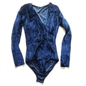 Faux wrap front navy velvet bodysuit
